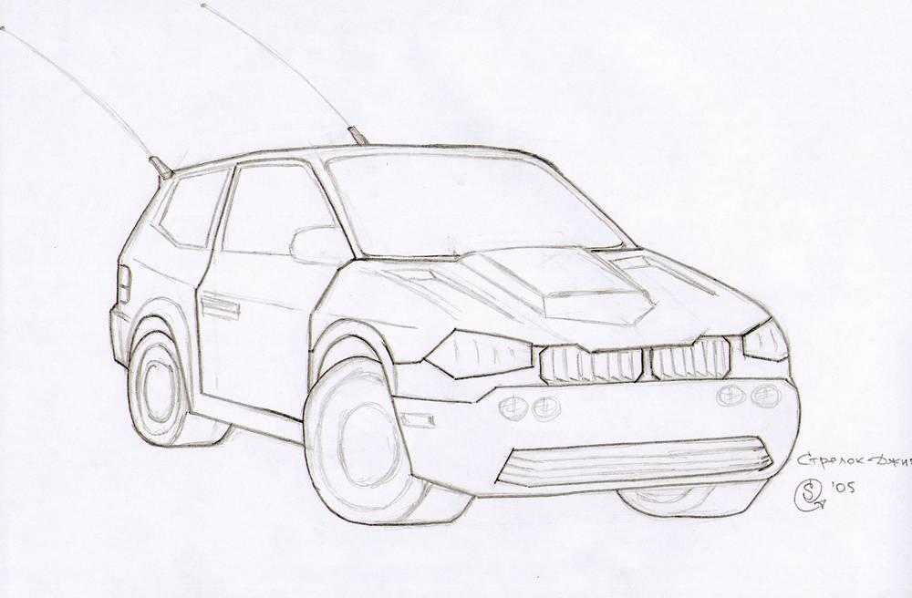 Нарисованные карандашом машины